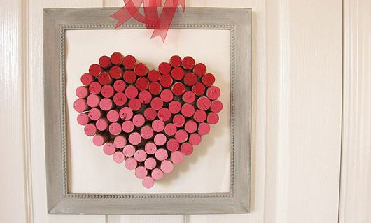 DIY wine cork heart- something to do with all the corks!