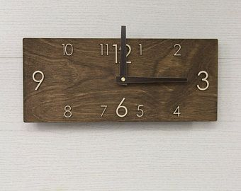 Dark brown clock - Rectangular wall clock - Modern wall clock - Wooden wall clock - Brown wall clock - Scandinavian clock - Wall decor