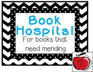 Free Book Hospital Sign  After many years of having stacks of books to repair laying all around my desk or in drawers I decided to create a book hospital that I keep with my classroom library. I have a basket where students place damaged books and then when I have time (let's be honest---when it gets full) I can gather the books from one place and repair/discard them. Here is a book hospital label for you to use!  Just click on the picture to get a copy of the labels.Cheers   3-5 book basket…