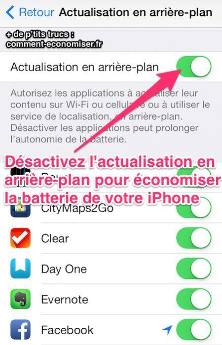 Désactivez l'actualisation en arrière-plan pour économiser la batterie iphone