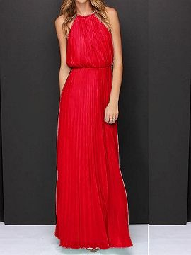 Red Halter Cut Out Sleeveless Pleated Chiffon Maxi Dress | Choies