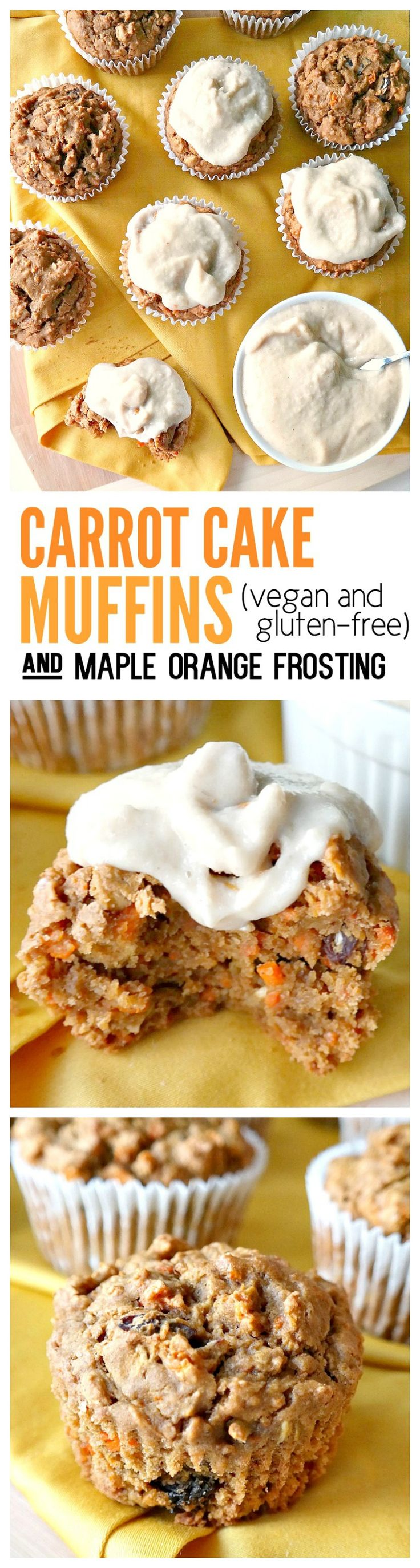 Vegan & Gluten-Free. Fluffy, not dry! Made with oat flour, warming spices, grated carrot, raisins and applesauce for a wholesome on-the-go snack or quick breakfast. Slather with creamy orange-infused maple cashew frosting and turn it into a treat! #carrot