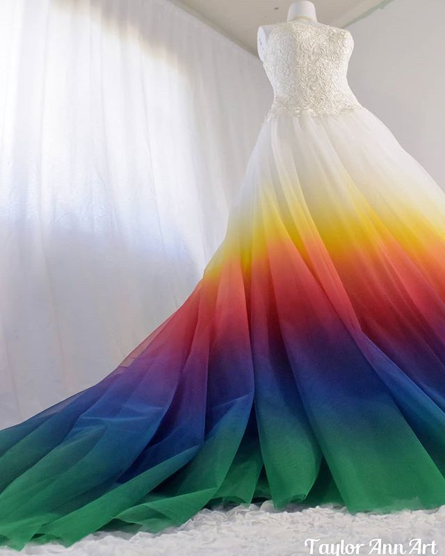 Rainbow Wedding Dress Dress Coloring Service Fabric Painter Colorful Wedding Gown Alterati Rainbow Wedding Dress Colorful Dresses Colored Wedding Dresses