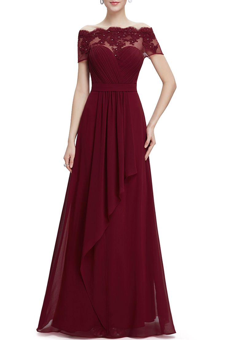 wine red gown