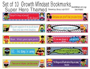 This Super Hero Growth Mindset Bookmark set includes 10 cute bookmarks with growth mindset phrases in small, medium and large sizes in a non-editable PDF. Editable PowerPoint (.ppt) file includes Large and Medium sizes only. Item comes as a digital download with two files ZIPped in one folder - a non-editable PDF of the bookmarks, and an editable PowerPoint file of the large and medium images.