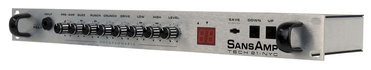 Guitar PreAmp: Tech 21 SansAmp PSA-1 The best sound among the available non-tube pre-amps. Stores 98 MIDI-switchable presets. Very easy to edit & store. Exceptionally good tone. The device is a pre-amp which emulates various tube amplifiers (e.g., Fender, Marshall, Mesa), both in their pre-amp and power amp characteristics. Even tube enthusiasts are stunned to discover that the PSA-1 has no tubes.