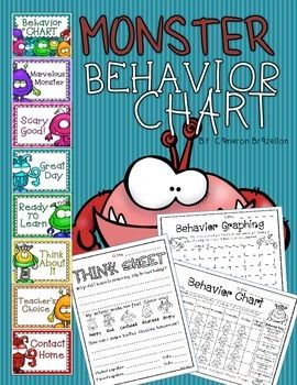 Monster Theme Behavior Clip Chart, Behavior Log, Behavior Graphing, and Think Sheet!