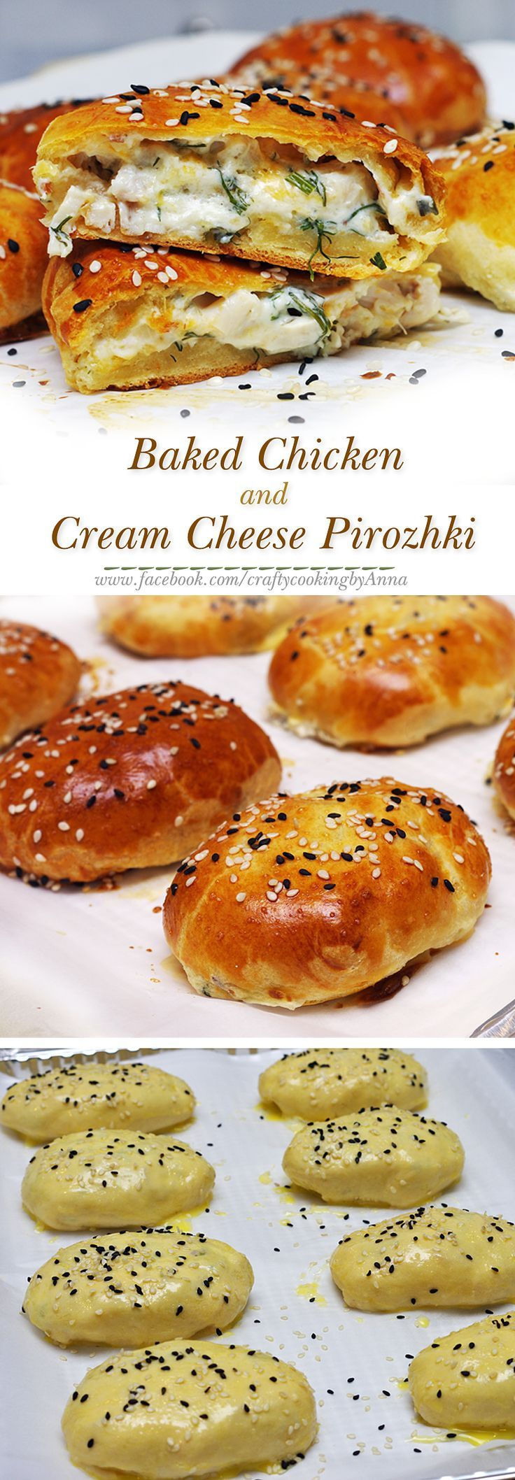 Baked Chicken and Cream Cheese Pirozhki! #easy #delicious #Russian #lunch…