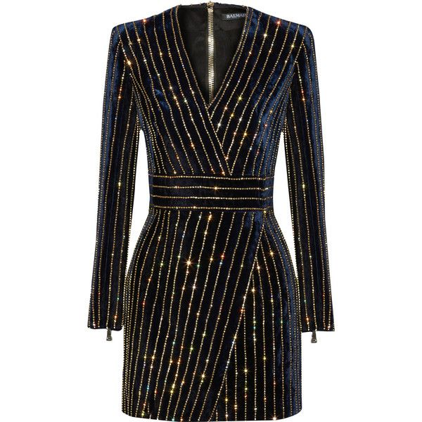 Balmain Embellished velvet mini dress (19 615 PLN) ❤ liked on Polyvore featuring dresses, vestidos, short dresses, balmain, blue, blue striped dress, velvet dress, wrap dress and short black dresses