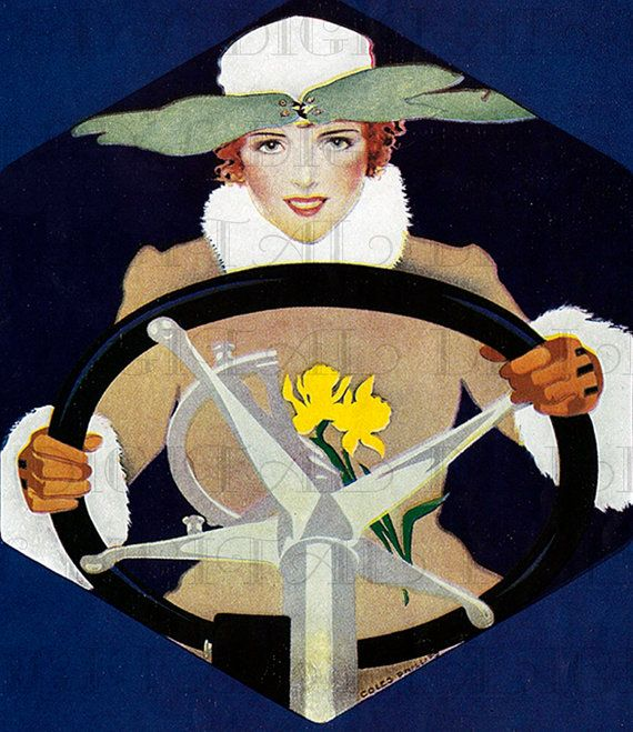 Hey, I found this really awesome Etsy listing at https://www.etsy.com/listing/183220312/woman-driver-coles-phillips-vintage-art