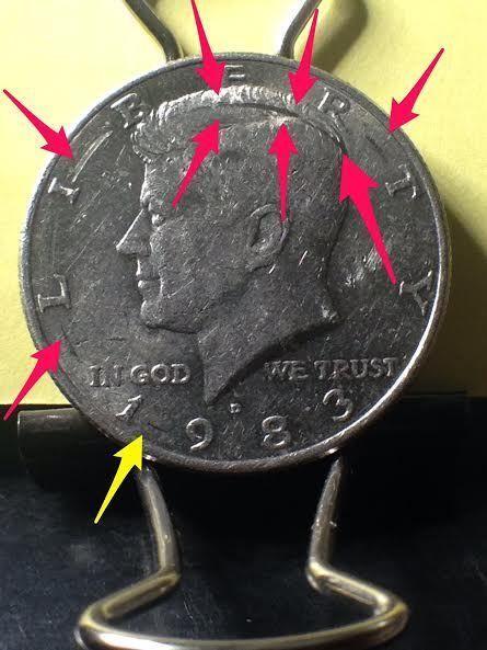 1983 D Post Mint Damage Kennedy Half Dollar Error Coin