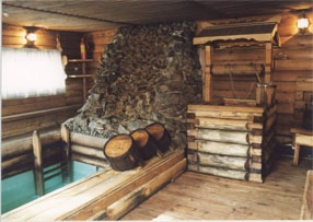 "Hotel and tourist complex ""Baikal Terema"" .  Russian Banya - A steam bath & icy plunge pool."