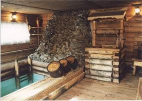 "Hotel and tourist complex ""Baikal Terema"" .  Russian Banya - A steam bath & icy plunge pool."