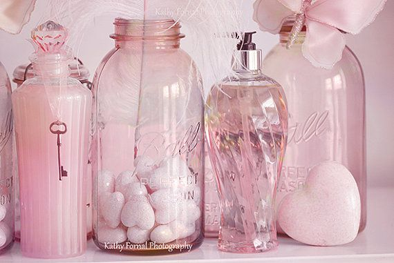 Shabby Chic Photography, Dreamy Pink Bathroom Decor Wall Art, Baby Nursery Pink Jars, Bathroom Decor Photos, Pink Cottage Jars Photography