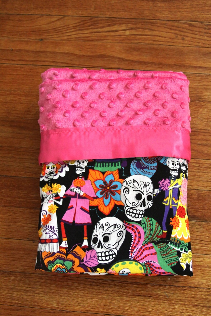 Me Sew Snuggly Day of the Dead Baby Blanket by MESEWCUTEsince2008, $45.00