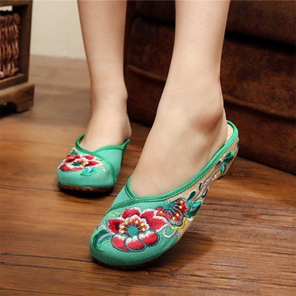Floral Embroidery National Wind Open Heel Color Match Slip On Flat Shoes