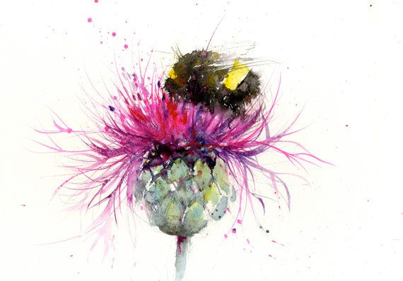 Bee print, limited edition, of my BUMBLE BEE on a thistle watercolor painting 2403 floral art, home decor, gift,. hand signed