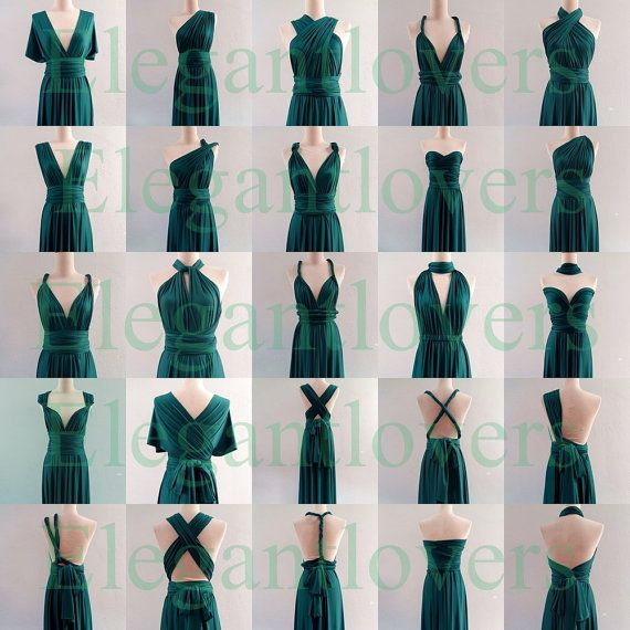 Infinity Dress Teal Wedding Bridesmaid Wrap Convertible Evening Cocktail Party Long Maxi Elegant Prom Custom Made Plus Size Bridal Dresses
