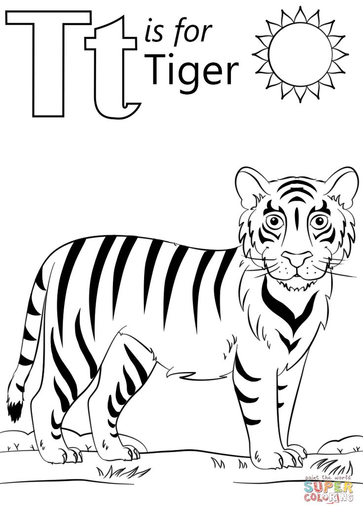 T is for Tiger coloring page from Letter T category ...