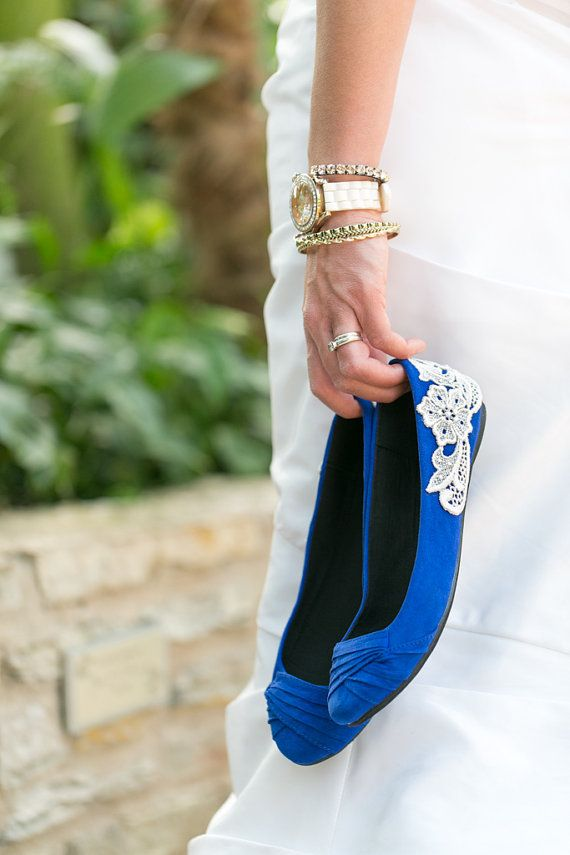 Wedding Flats  Cobalt Blue Bridal Ballet Flats by walkinonair, $53.00