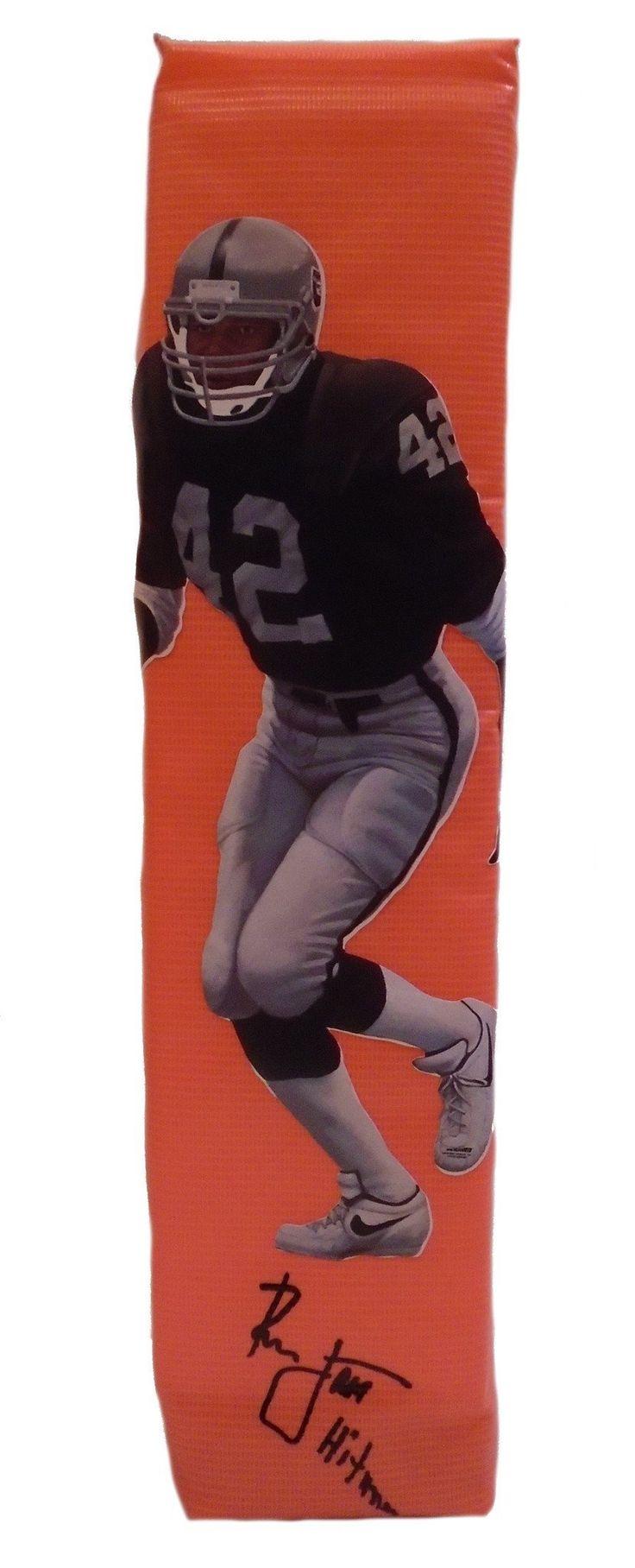 Ronnie Lott Autographed LA Raiders Photo Full Size Football End Zone Touchdown Pylon, Proof