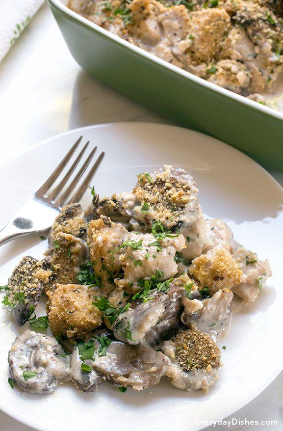 Mushroom chicken gouda bake recipe