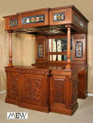 SOLID MAHOGANY Canopy HOME PUB BAR W/ Lighted Stained Glass U0026 Mirror Arc