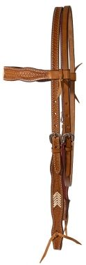 Basketweave Browband Headstall With Rawhide Accents