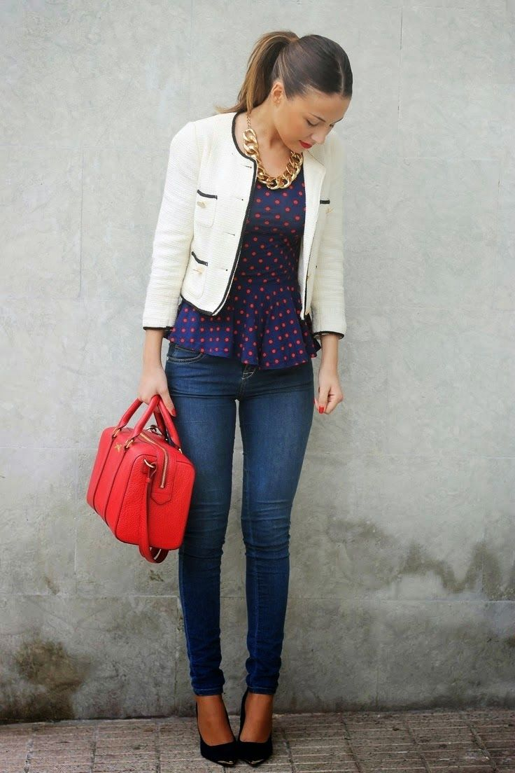 Peplum top, Cropped Blazer. Red Bag. Skinny Pant & Heels