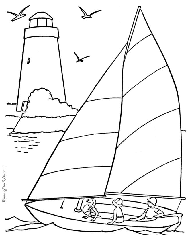 Sail boat coloring book pages 001