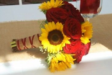 RED ROSE AND SUNFLOWER Wedding Bridal Bouquet in Riverside, CA ...