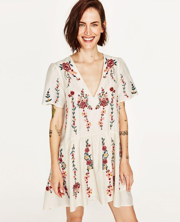Vestido bordado flores (branco): ZARA (29,99€) ✓
