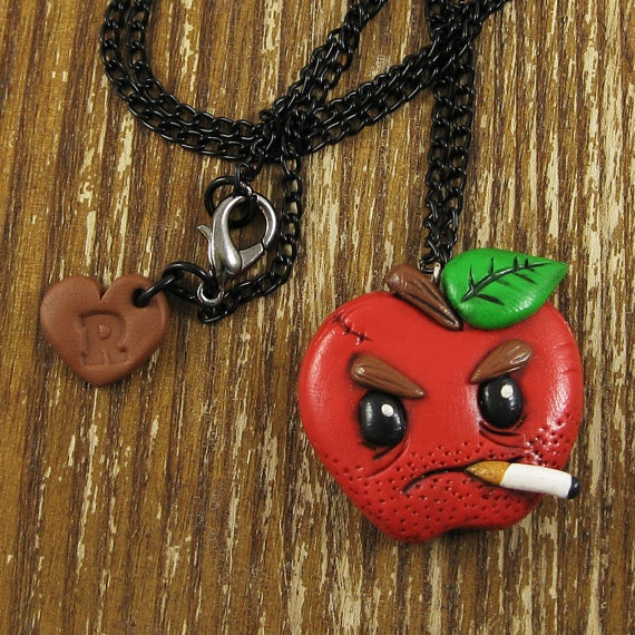 Bad Apple Polymer Clay Necklace by rapscalliondesign on Etsy, $21.00