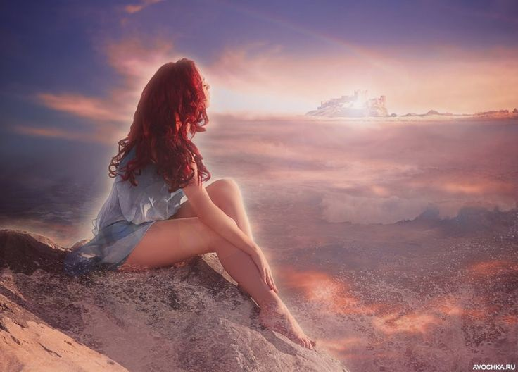 Аватар с девушкой с огненно-рыжими волосами на берегу моря - Картинки и фото на Avochka.ru
