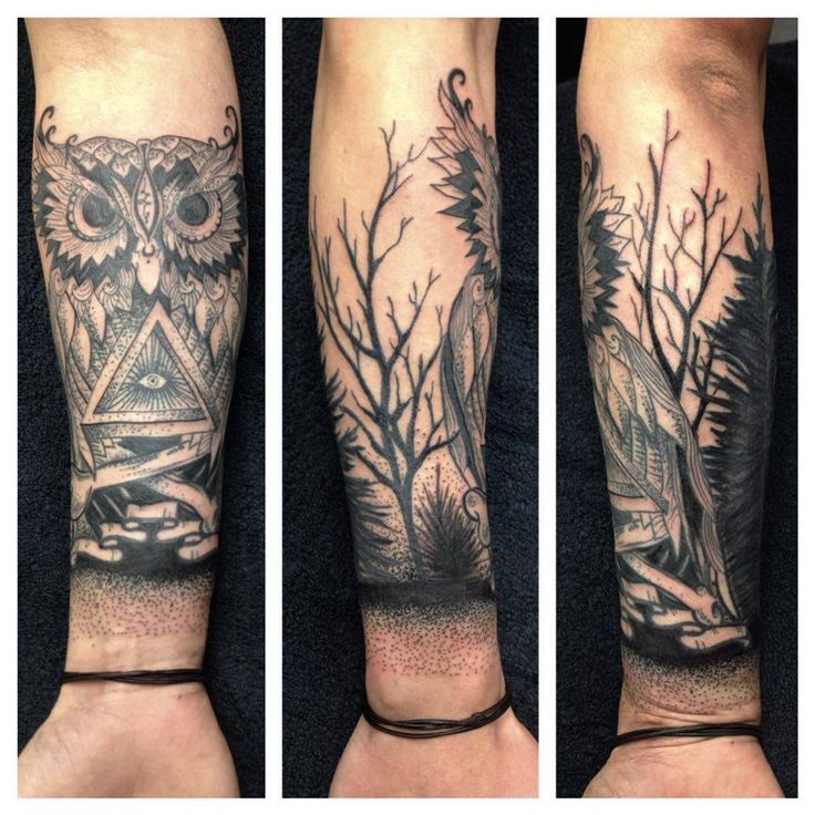 Sleeve Tattoo Owl/Dots/Trees by Madlen Psychedelic, weird, occult