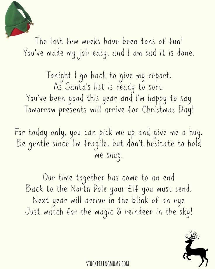 Elf On A Shelf Goodbye Letter (Free Printable):