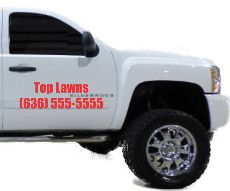 We sell custom made vinyl lettering decals for your lawn care landscape construction plumbing or tree trimming business