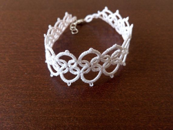 White Romantic Tatted Lace Bracelet White Lace by EstaTatting