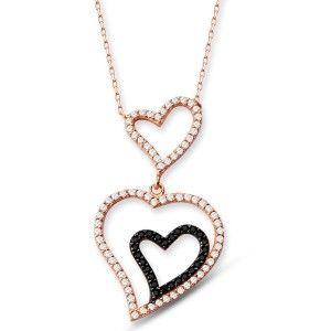 İçe içe kalp temalı,925 ayar gümüş bayan kolyesi