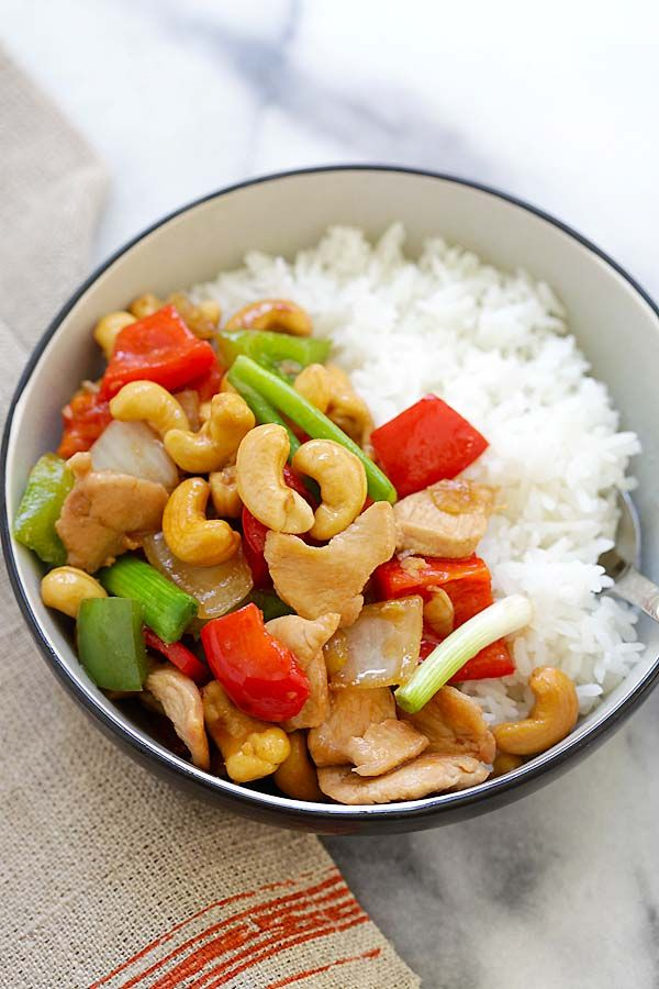 Thai Cashew Chicken - best Thai chicken stir-fry with cashew nuts and bell peppers. So easy to make, takes 20 mins and much better than restaurants | rasamalaysia.com