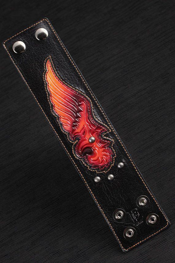 SALE Ethos Leather Cuff: Fiery Phoenix Cuff by EthosCustomBrands
