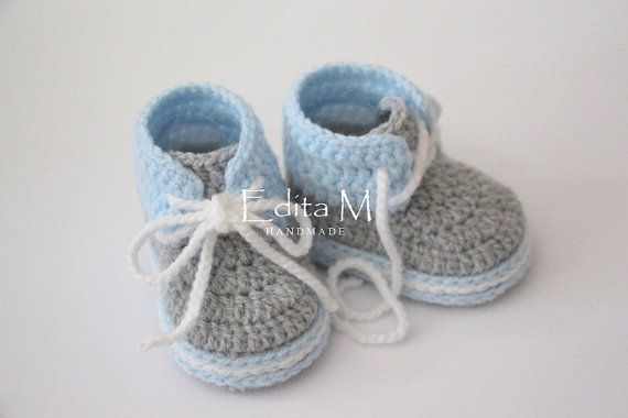 Crochet baby set baby boy hat and sneakers by EditaMHANDMADE