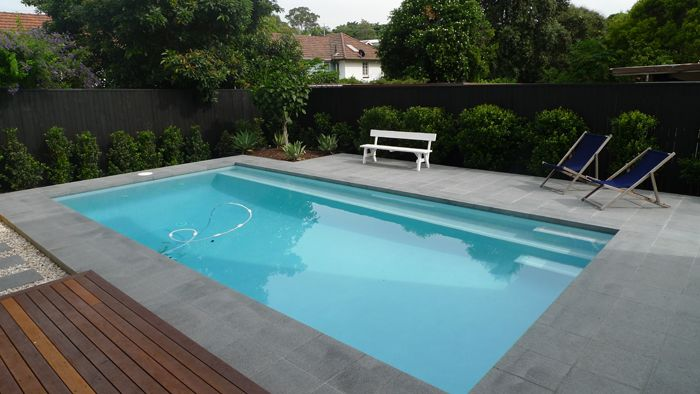 Cm705 white 95x45 step marker dark grey granite coping and for Swimming pool surrounds design