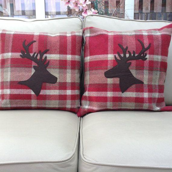 Stags Head Tartan Cushion Cover Cushions Cushions