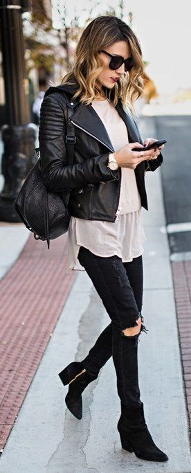#winter #fashion /  Black Bicker Jacket / Destroyed Skinny Jeans / Black Suede Booties https://bellanblue.com