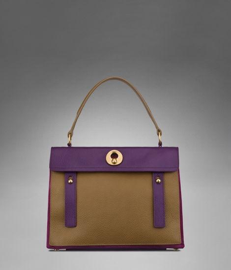Medium YSL Muse Two in Khaki, Iris, Dark Magenta leather \u0026amp; Black ...