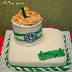 Themed Cakes - Starbucks Cake | All Things Yummy | White and Green Starbucks Themed Fondant Cake with Starbucks Whipped Cream Coffee  #allthingsyummy #atyummy #fondant #cake #starbucks