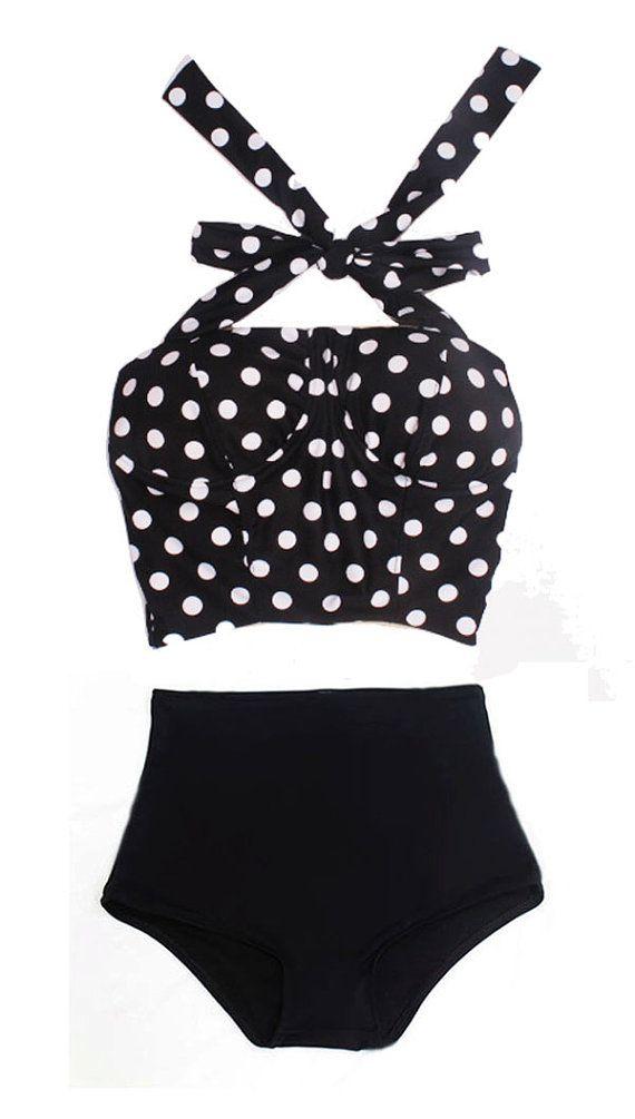 Black White Polka Dot Long Cover Top and Black Bottom Two-piece Bikini Two-piece Swimsuit Swimwear Swimming Swim Bathing suit dress wear S M...
