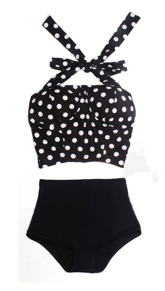 Black White Polka Dot Long Cover Top and Black Bottom Two-piece Bikini Two-piece Swimsuit Swimwear Swimming Swim Bathing suit dress wear S M...