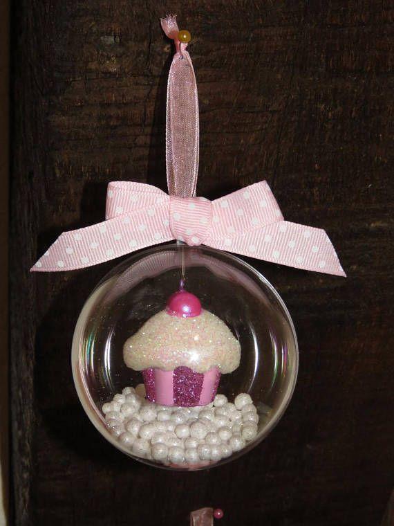 Lot de 3 Boules de Noel transparente Cupcake rose à paillettes